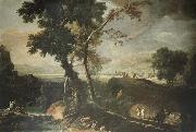 RICCI, Marco Landscape with Washerwomen oil painting reproduction